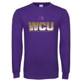Purple Long Sleeve T Shirt-WCU Splatter