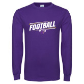 Purple Long Sleeve T Shirt-Football Fancy Lines