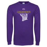 Purple Long Sleeve T Shirt-Basketball Net Design