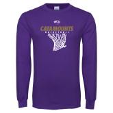 Purple Long Sleeve T Shirt-Basketball Net Design