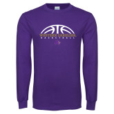 Purple Long Sleeve T Shirt-Basketball Half Ball