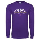 Purple Long Sleeve T Shirt-Basketball Half Ball