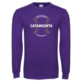 Purple Long Sleeve T Shirt-Baseball Seams Design