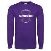 Purple Long Sleeve T Shirt-Baseball Seams Design