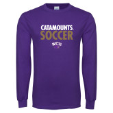 Purple Long Sleeve T Shirt-Soccer Stacked