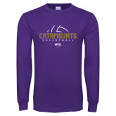 Purple Long Sleeve T Shirt-Abstract Volleyball