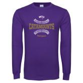 Purple Long Sleeve T Shirt-Softball Seams Design