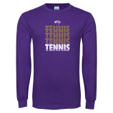 Purple Long Sleeve T Shirt-Tennis Repeating