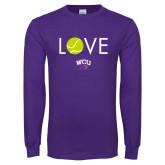Purple Long Sleeve T Shirt-Love Tennis