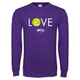 Purple Long Sleeve T Shirt-Love Tennis