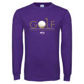 Purple Long Sleeve T Shirt-Golf Flag Design