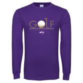 Purple Long Sleeve T Shirt-Golf Flag Design