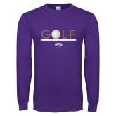 Purple Long Sleeve T Shirt-Golf Lines Design