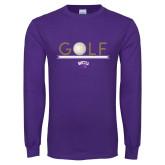 Purple Long Sleeve T Shirt-Golf Lines Design
