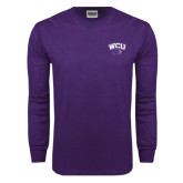 Purple Long Sleeve T Shirt-WCU w/Head
