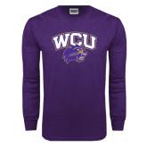 Purple Long Sleeve T Shirt-WCU w/Head