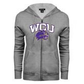Ladies Grey Fleece Full Zip Hoodie-WCU w/Head