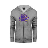 Ladies Grey Fleece Full Zip Hoodie-Catamount Head