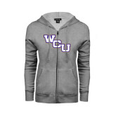 ENZA Ladies Grey Fleece Full Zip Hoodie-WCU
