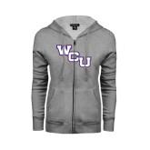 Ladies Grey Fleece Full Zip Hoodie-WCU