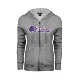 Ladies Grey Fleece Full Zip Hoodie-Alumni