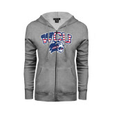 Ladies Grey Fleece Full Zip Hoodie-Stars and Stripes