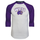 White/Purple Raglan Baseball T Shirt-WCU w/Head