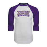 White/Purple Raglan Baseball T Shirt-Western Carolina Catamounts
