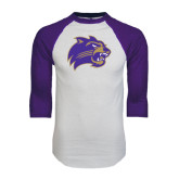 White/Purple Raglan Baseball T Shirt-Catamount Head