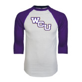 White/Purple Raglan Baseball T Shirt-WCU
