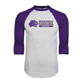 White/Purple Raglan Baseball T Shirt-Alumni