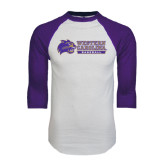 White/Purple Raglan Baseball T Shirt-Baseball