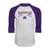 White/Purple Raglan Baseball T Shirt-Baseball Crossed Bats Design
