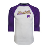 White/Purple Raglan Baseball T Shirt-Baseball Script w/ Bat Design