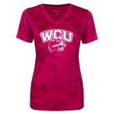 Ladies Pink Raspberry Camohex Performance Tee-WCU w/Head