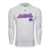 Under Armour White Long Sleeve Tech Tee-Softball Script w/ Bat Design