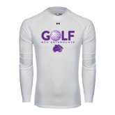 Under Armour White Long Sleeve Tech Tee-Golf Ball Design