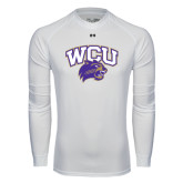 Under Armour White Long Sleeve Tech Tee-WCU w/Head