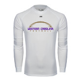 Under Armour White Long Sleeve Tech Tee-Arched Football Design