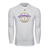 Under Armour White Long Sleeve Tech Tee-Basketball Ball Design