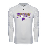 Under Armour White Long Sleeve Tech Tee-Baseball Crossed Bats Design