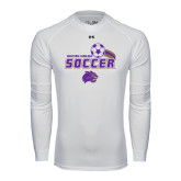 Under Armour White Long Sleeve Tech Tee-Soccer Swoosh Design