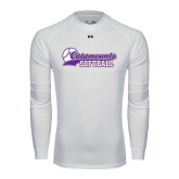 Under Armour White Long Sleeve Tech Tee-Softball Script Design