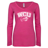 ENZA Ladies Hot Pink Long Sleeve V Neck Tee-WCU w/Head