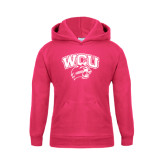 Youth Raspberry Fleece Hoodie-WCU w/Head