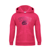 Youth Raspberry Fleece Hoodie-WCU w/Head Foil