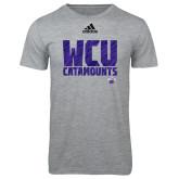 Adidas Sport Grey Logo T Shirt-Adidas WCU Catamounts Logo
