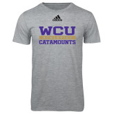 Adidas Sport Grey Logo T Shirt-Adidas WCU Catamounts Athletics Logo