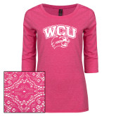 Ladies Dark Fuchsia Heather Tri Blend Lace 3/4 Sleeve Tee-WCU w/Head