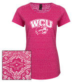 Ladies Dark Fuchsia Heather Tri-Blend Lace Tee-WCU w/Head